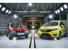 Euro NCAP 20th - the 1997 Rover 100 and a current Honda Jazz line up in the Thatcham Research Crash Lab