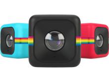 Polaroid Cube, blå, svart och röd, gruppbild