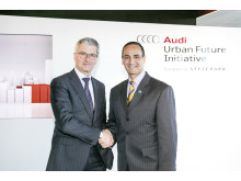 Audi brings automated parking to the Boston area - Audi CEO Rupert Stadler and Joseph A. Curtatone, Mayor of Somerville, sign a Memorandum of Understanding