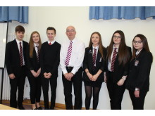 Cllr Macrae and pupils