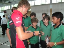 Charles Pic signs autographs at the German European School Singapore