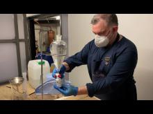 Hand sanitiser being made at Portobello Road Gin