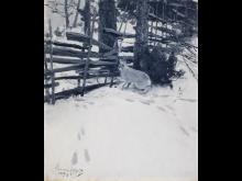 Bruno Liljefors, Hare vid gärdesgård, 1890 © Prins Eugens Waldemarsudde