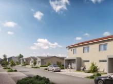 Brf Äppellunden - 3D-bild av gatan och husen