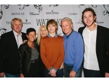 Per Hjertquist och Björn och Patricia Borg med familj och vänner