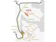 Karta Norrköpings nya godsbangård