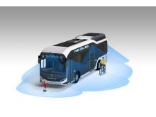 Sora har åtta videokameror, som hjälper föraren att upptäcka fotgängare och cyklister.