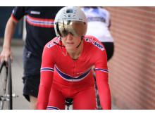 Cecilie Gotaas Johnsen rett før start på tempoen i  sykkel-VM 2015