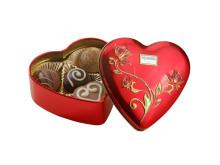 Hjerteformet sjokoladeboks i metall