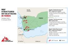 Karta över Läkare Utan Gränsers projekt i Jemen samt attacker mot sjukhus.