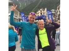 Jonas Buud och Sofie Nelsson efter målgången