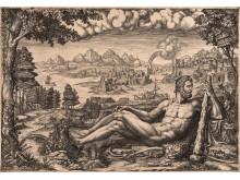 Giorgio Ghisi, 1520-1582, efter Giulio Romano, 1499-1546, Herkules vilar efter sina stordåd, 1567