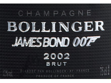 "Specialutgåva James Bond Bollinger ""002 for 007"" etikett med pistol"