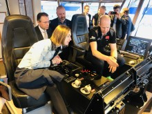 Iselin Nybø, Norway's Minister of Research and Higher Education, on board Eidsvaag Pioneer