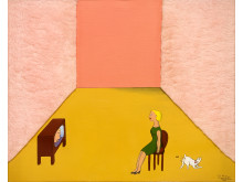 Marie-Louise Ekman, Hemma hos en dam, 1973, olja på duk, blandteknik, 50 x 61 cm