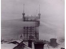 Telefontornet en kylig dag på 1890-talet. Foto: Okänd. Tekniska Museet.