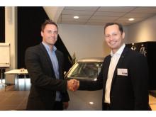 Thomas Erichsen, marketingchef for Tivoli, og Thomas Jöhncke, administrerende direktør for Audi ved Berlingske Talent 100 i 2014 (foto af Søren Dandanell)