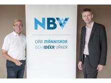 NBVs förbundsrektor och ordförande med NBVs nya logotyp