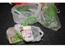 A bag containing £48,000 that was hidden amongst Iqbal Haji's chicken nuggets