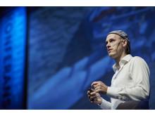 Arne Moe Lysaker på scenen under Samfunnskonferansen 2018