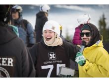 Vinneren i målområdet. Foto: Daniel Tengs / Snowboardforbundet