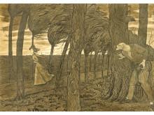 Overfallsmannen/The Assailant, penn og pensel på papir, 1911, Harald Sohlberg. Privat eie.