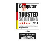 cobra CRM konnte in der Kategorie Vertriebs- und CRM-Software einen Gesamtscore von 83,9 erreichen und wurde als Trusted Solution 2018 ausgezeichnet