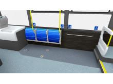 Säker transport för rullstolsburna och/eller barnvagnar alternativt extra sittplatser