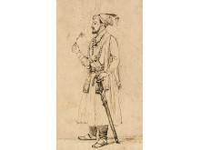 Shah Jahan, debout avec une fleur et une épée