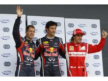 Topp tre efter kvalet till Storbritanniens GP 2011