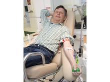 Claes Caroli, styrelseordförande HSB Malmö , är blodgivare