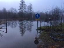 Bild från översvämmade området i Gemla/Öja. Foto: Växjö kommun (kan användas av press)