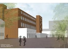 Volymstudie/tidig skiss grundskola, idrottshall och bostäder på Brännaren 8