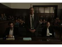 Kamel El Basha (mitten) i Ziad Doueiris Oscarsnominerade drama Förolämpningen.