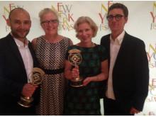 New York Festivals UR vinnare. Daniel Persson Mora, Kristina Buddee Roos, Lena Gramstrup Olofgörs och Andreas Viklund
