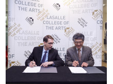 Signing on behalf of LASALLE is Professor Adam Knee, Dean of the Faculty of Fine Arts, Media & Creative Industries. Signing on behalf of Niigata University is Professor Saito Yoichi, Dean of the Faculty of Humanities.