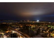 Kvällsvy över Östersund och Frösön från Fagerskrapan
