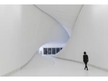 """Innenansicht des neuen Gebäudes """"The Twist"""" im Kistefos Museum"""