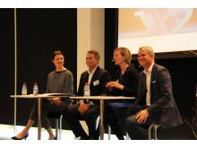 Indlæg og debat ved Ditte Marstand Wulf, Troels K Gjerrild, Ida Auken og Lars Ellehave-Andersen ved Berlingske Talent 100 konferencen 2014 (foto af Søren Dandanell)