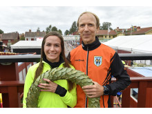 The winners of Ultravasan 90 2018: Alexandra Morozova and Fritjof Fagerlund