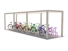 Rendering cykeltak SHARP med flerfärgade cykelställ i modell Arc