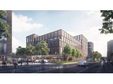 Foto: LINK ARKITEKTUR. Lidl vil bygge nyt hovedkontor på 11.000 m2, et moderne p-hus og en ny koncept-butik ved Godsbanen i Aarhus K.