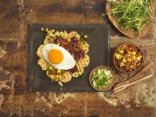Vaffel med egg og bacon