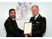 The Commissioner with PC Fraz Chaudhary (who was at the time a Special Constable)