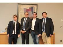 Daniel Schmalley, Leiter Kompetenzcenter Firmenkunden, Frank Lamsfuß, Vorstandsmitglied der Barmenia, Mirco Hecker, GWA-Geschäftsführer und Cord Brockmann, Geschäftsführer der Unternehmensberatung TOP bKV