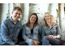 Glada finalister - Nina, Maria och Björn - Baristas grundare