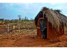 Toalett i Uganda som byggdes 2015.