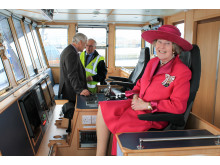 Clare Russell on the bridge of the Selkie