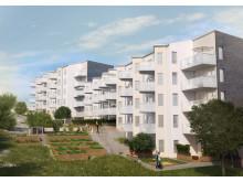 HSB brf Famnen baksida skissbild husen Flatås