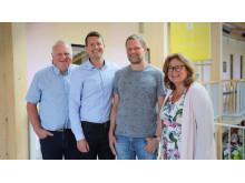 Carl Johard och Johannes Holmberg, Calejo, tillsammans med Martin Rydén och Gun Blom Lundgren, IBM